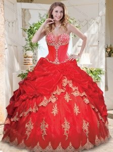 Luxurious Applique and Beaded Red Quinceanera Dress with See Through Sweetheart