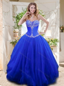 New Style See Through Sweetheart Blue Quinceanera Dresses with Beading