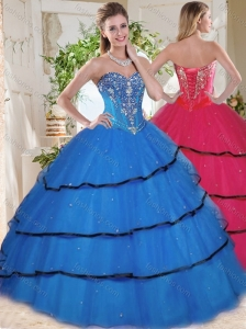 Wonderful Beaded and Ruffled Layers Blue Quinceanera Dress in Organza