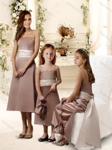Natural Brown Tea Length Bridesmaid Dress with Sashes