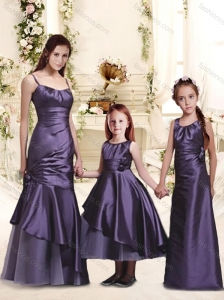2016 Classical Straps Mermaid Bridesmaid Dress with Ruffles and Handle Made Flower