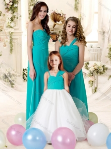 2016 Romantic Turquoise Chiffon Bridesmaid Dress with Floor Length