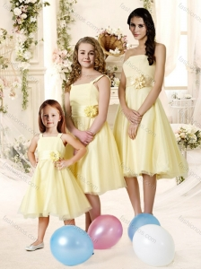 Affordable Knee Length Tulle Bridesmaid Dress with Handle Made Flower and Sashes