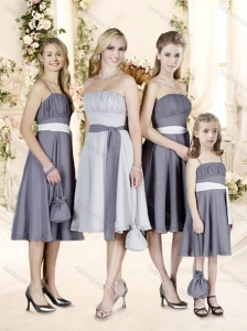 Delicate A Line Chiffpn Bridesmaid Dress with Sashes and Ruching