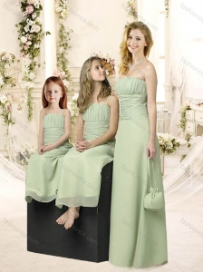 Elegant Apple Green Chiffon Bridesmaid Dress with Ruching