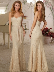 Exclusive Spaghetti Straps Beaded and Ribboned Cheap Dama Dress in Champagne