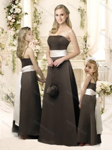 Fashionable A Line Brown Bridesmaid Dress with Ribbons