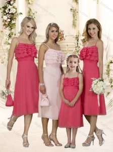Lovely Straps Ruffles Layers Bridesmaid Dress with Tea Length