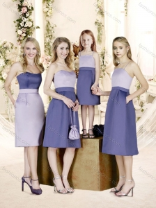 Romantic Empire Knee Length Bridesmaid Dress with Belt