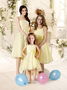 Delicate A-line Tulle Bridesmaid Dress with Handle Made Flower and Sashes