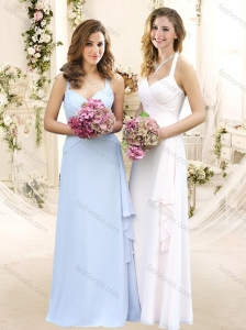 Elegant Halter Top Empire Bridesmaid Dress with Ruffles