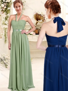 Elegant Halter Up Floor Length Bridesmaid Dress with Sashes and Ruching
