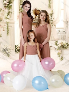 Fashionable Spaghetti Strap Chiffon Bridesmaid Dress with Ruffles