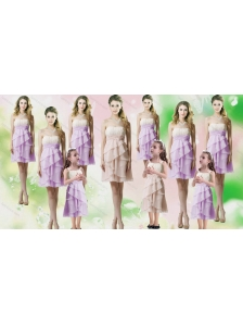 Feminine Chiffon Mini Length Bridesmaid Dresses with Handle Made Flower and Ruffles