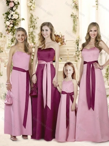 Free and Easy Ribboned Empire Bridesmaid Dress in Satin