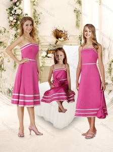Lovely Beaded Hot Pink Bridesmaid Dress with Knee Length