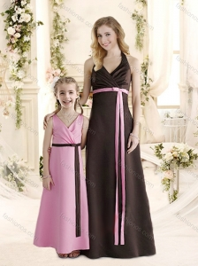 Modest Empire Halter Top Bridesmaid Dress with Ruching and Belt