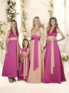 Sexy DeepV Neck A Line Bridesmaid Dress with Sashes