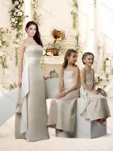 Simple Empire Lvory Bridesmaid Dresses with Sashes