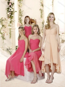 The Most Popular High Low Chiffon Bridesmaid Dress with Ruching