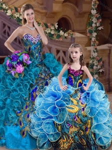Popular Beaded and Ruffled Teal Princesita Quinceanera Dresses with Brush Train
