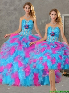 Romantic Hand Made Flowers and Ruffled Big Puffy Detachable Quinceanera Skirts  in Blue and Pink