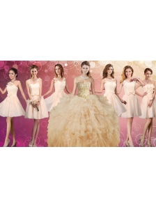 Fashionable Beaded and Ruffled Champagne Quinceanera Dress and Discount Short Dama Dresses