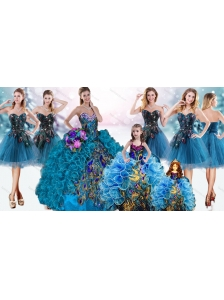 Luxurious Beaded Top and Ruffled Peacock Quinceanera Dress and Pretty Puffy Skirt Mini Quinceanera Dress and Romantic Teal Short Dama Dresses
