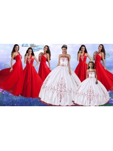 Pretty Wine Red and White Quinceanera Dress and Beautiful Embroidered Mini Quinceanera Dress and Latest Red One Shoulder Long Dama Dresses