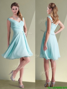 2016 Chiffon Off the Shoulder Aqua Blue Bridesmaid Dress with Ruching