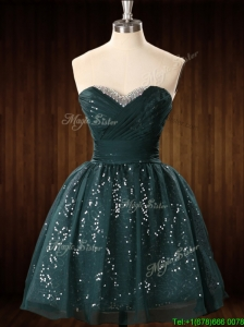 Modest Beaded Top Dark Green Short Prom Dress in Organza