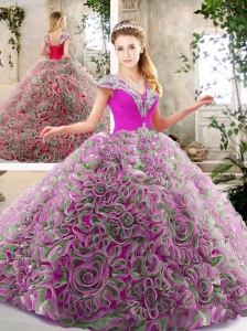Exquisite Beading and Ruffles Quinceanera Gowns in Multi Color