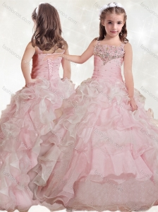 New Style  Beaded and Ruffled Layers Little Girl Pageant Dress with Straps