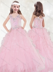 Discount V Neck Brush Train Little Girl Pageant Dress with Beading and Ruffled Layers