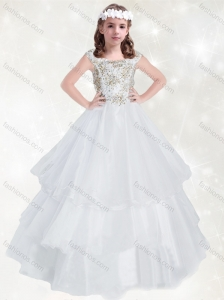 Exclusive Scoop White Mini Quinceanera Dress with Beading and Ruffled Layers