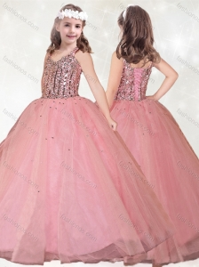 Most Popular Straps Beaded Mini Quinceanera Dress in Watermelon Red