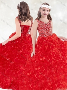 New Arrivals V Neck Rolling Flowers Mini Quinceanera  Dress in Red