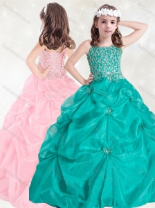 Elegant Straps Really Puffy Little Girl Pageant Dress with Beading and Pick Ups