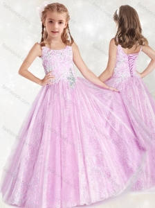 Fashionable Straps Lace Mini Quinceanera  Dress with Beading and Appliques