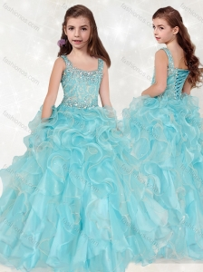Lovely Beaded and Ruffled Big Puffy Little Girl Pageant Dress with Straps