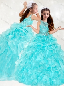 New Arrivals Beaded and Ruffled Mini Quinceanera  Dress with See Through Scoop
