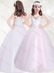 New Style Baby Pink Straps Little Girl Pageant Dress with Beading