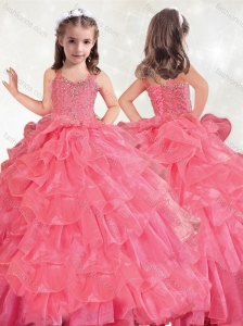 New Style Beaded and Ruffled Layers Little Girl Pageant Dress in Hot Pink