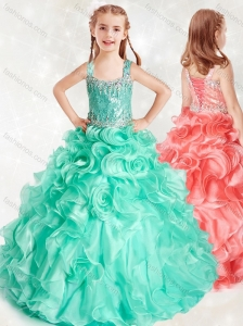 New Style Beaded and Ruffled Little Girl Pageant Dress in Turquoise