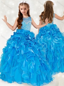 New Style Beaded and Ruffled Little Girl Pageant Dress with See Through Scoop