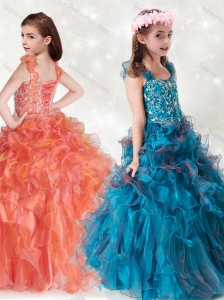 New Style Beaded and Ruffled Mini Quinceanera  Dress with Straps