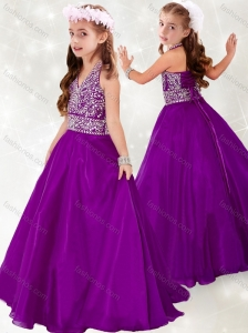 New Style  Halter Top A Line Purple Little Girl Pageant Dress with Beading