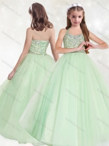 New Style Halter Top Beaded Little Girl Pageant Dress in Apple Green