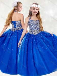 New Style Halter Top Beading Little Girl Pageant Dress in Royal Blue