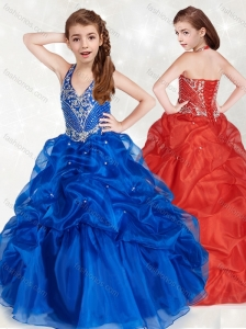New Style Halter Top Blue Little Girl Pageant Dress with Beading and Pick Ups
